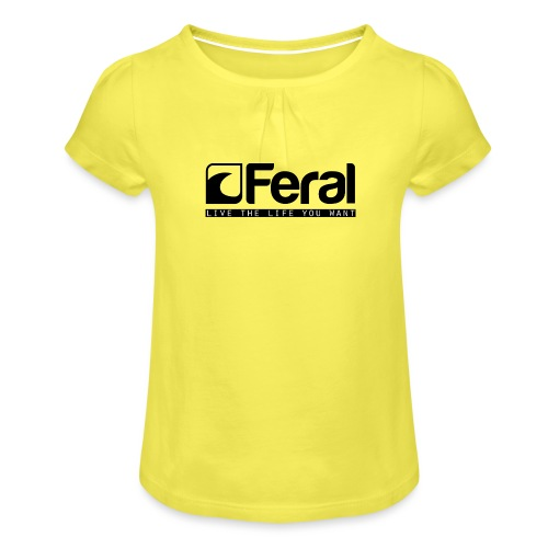 Feral Surf - Live the Life - Black - Girl's T-Shirt with Ruffles