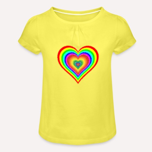 Heart In Hearts Print Design on T-shirt Apparel - Girl's T-Shirt with Ruffles