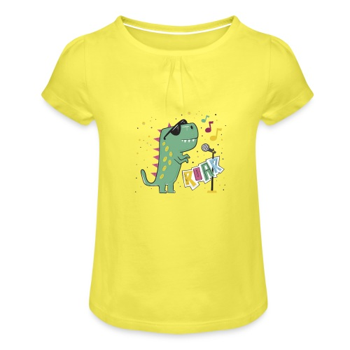 DINO MUSIC 1 - Camiseta para niña con drapeado