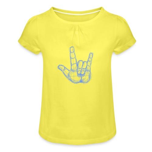 Sketchhand ILY - Mädchen-T-Shirt mit Raffungen