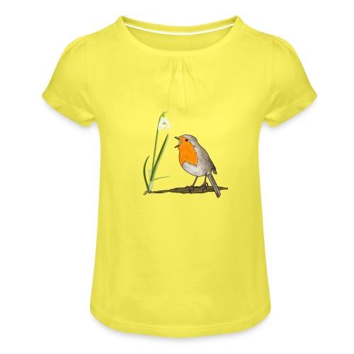 Frühling, Rotkehlchen, Schneeglöckchen - Mädchen-T-Shirt mit Raffungen
