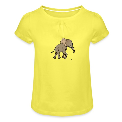 Afrikanischer Elefant - Mädchen-T-Shirt mit Raffungen