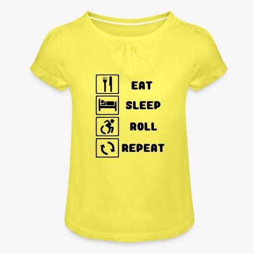 >Eten, slapen, rollen met rolstoel en herhalen 001 - Meisjes-T-shirt met plooien