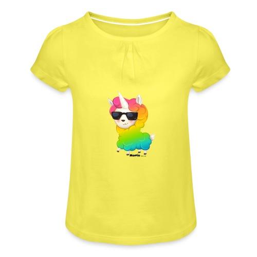 Regenboog animo - Meisjes-T-shirt met plooien