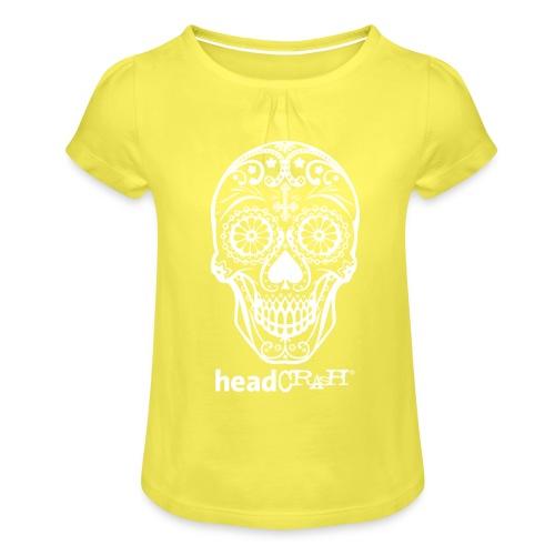 Skull & Logo white - Mädchen-T-Shirt mit Raffungen