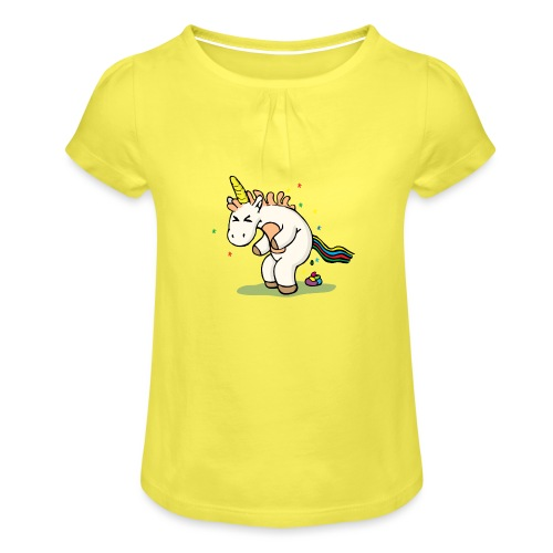 Mrs Poopy pooping - T-shirt à fronces au col Fille