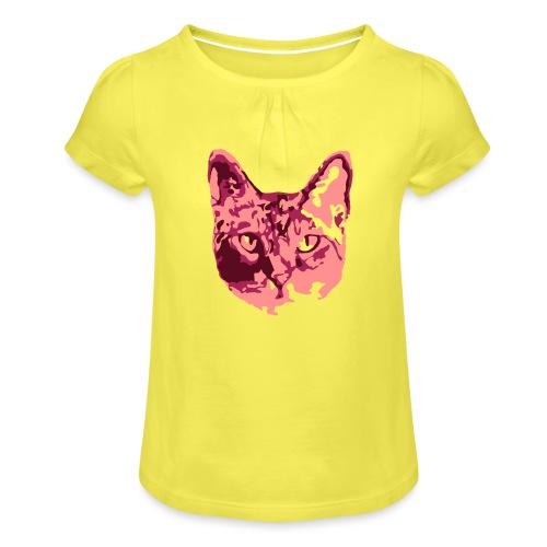 Katzenliebe - Mädchen-T-Shirt mit Raffungen