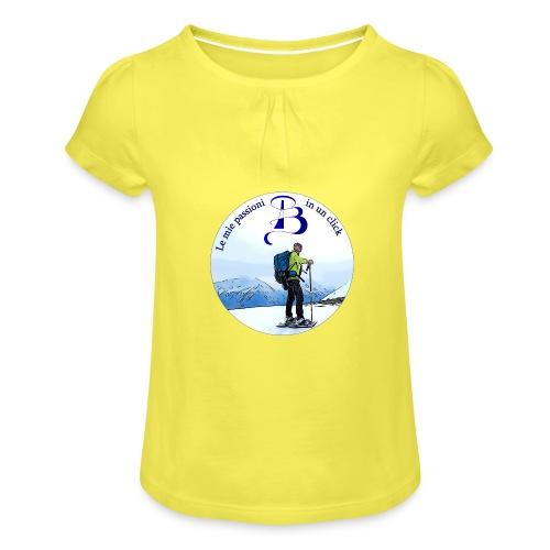 Logo cartone ciaspole - Maglietta da ragazza con arricciatura