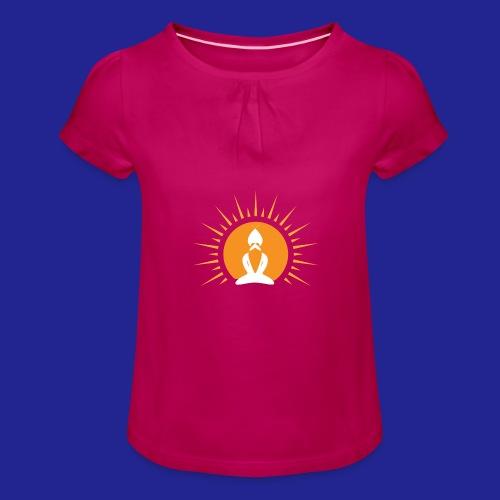 Guramylyfe logo white no text - Girl's T-Shirt with Ruffles