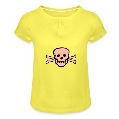 skull tattoo style - Mädchen-T-Shirt mit Raffungen