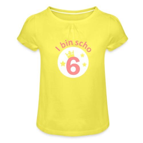 Vorschau: I bin scho - Mädchen-T-Shirt mit Raffungen