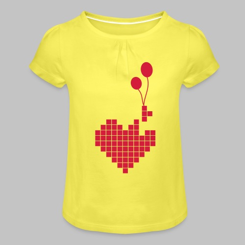 heart and balloons - Girl's T-Shirt with Ruffles
