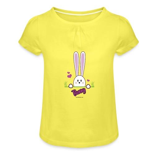 süßes Häschen - Mädchen-T-Shirt mit Raffungen