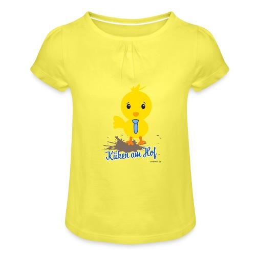 Küken am Hof, Design für Jungen - Mädchen-T-Shirt mit Raffungen