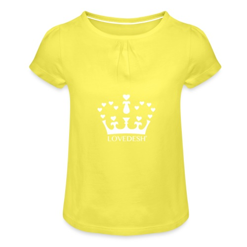 White Lovedesh Crown, Ethical Luxury - With Heart - Girl's T-Shirt with Ruffles