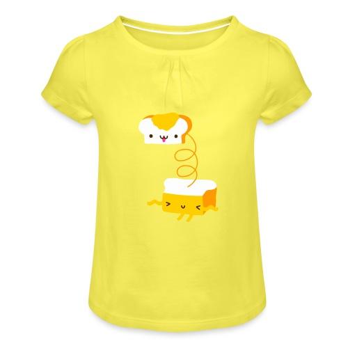 Cat sandwich gatto sandwich - Maglietta da ragazza con arricciatura