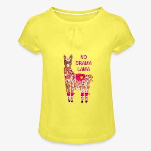 NO DRAMA LAMA - Mädchen-T-Shirt mit Raffungen