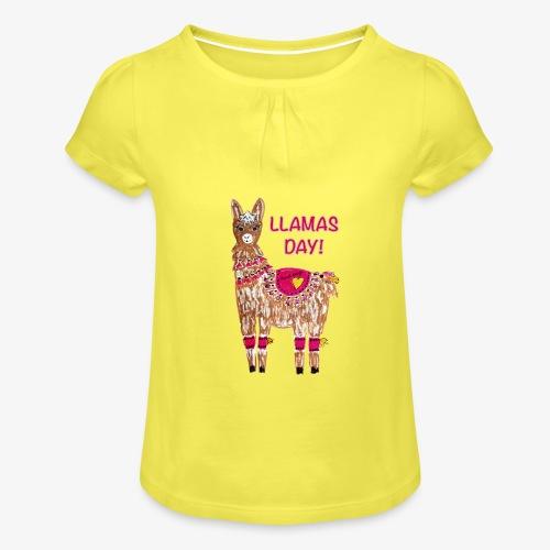 LLAMAS DAY! - Mädchen-T-Shirt mit Raffungen