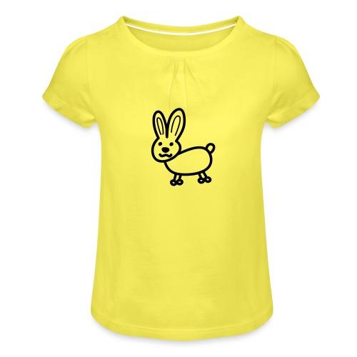 Hase Comicfigur - Mädchen-T-Shirt mit Raffungen