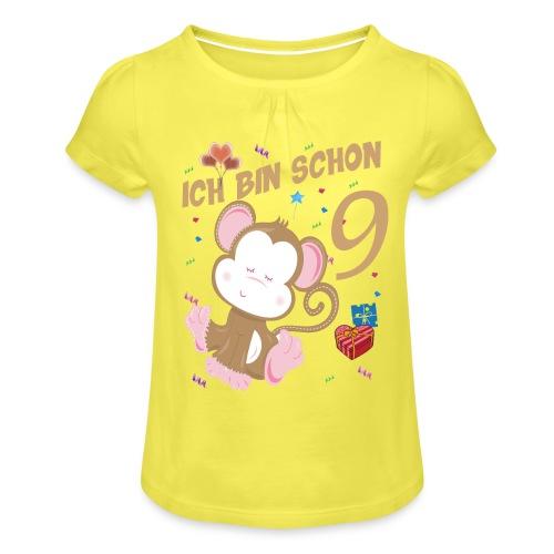 Kinder Affen Geburtstagsshirt - Geburstag 9 Jahre - Mädchen-T-Shirt mit Raffungen