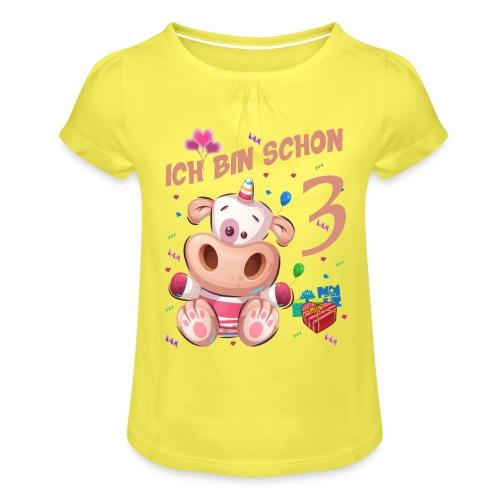 Kuh Geburtstagsshirt – Ich bin schon 3 Jahre - Mädchen-T-Shirt mit Raffungen