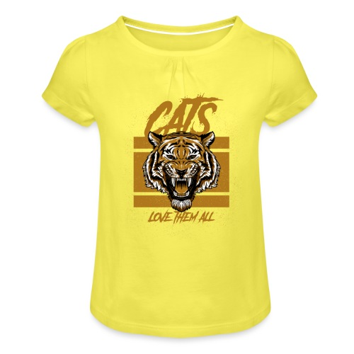 Cats, love them all - Meisjes-T-shirt met plooien