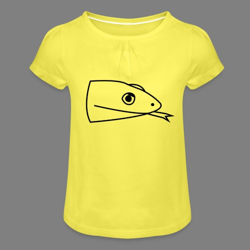 Snake logo black - Meisjes-T-shirt met plooien