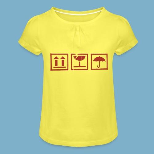 Zerbrechlich - Mädchen-T-Shirt mit Raffungen