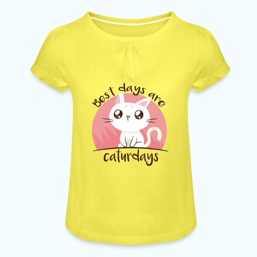 Saturdays - NO - Caturdays - Girl's T-Shirt with Ruffles