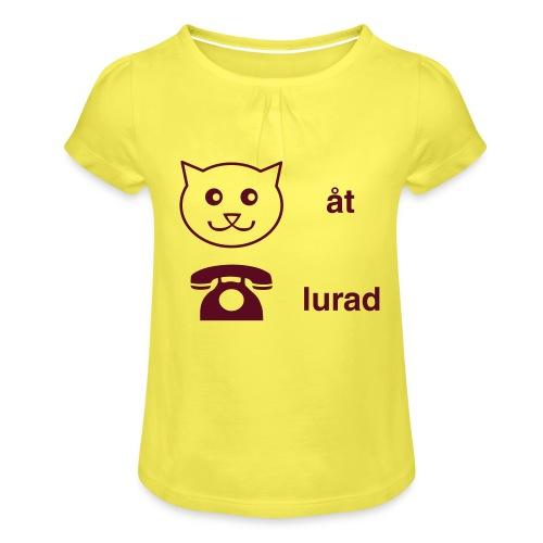 Katt åt telefon - T-shirt med rynkning flicka