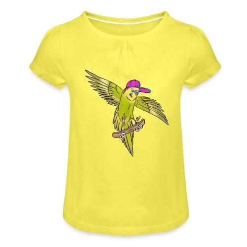 Skateboard Wellensittich (grün, cap neon) - Mädchen-T-Shirt mit Raffungen