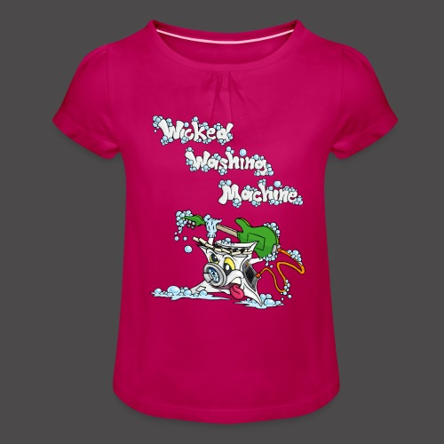 Wicked Washing Machine Cartoon and Logo - Meisjes-T-shirt met plooien