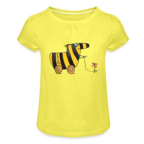 Janoschs Tigerente mit Blume - Mädchen-T-Shirt mit Raffungen