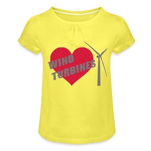 wind turbine grey - Girl's T-Shirt with Ruffles