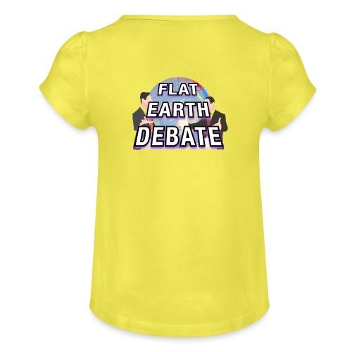 Flat Earth Debate Solid - Girl's T-Shirt with Ruffles