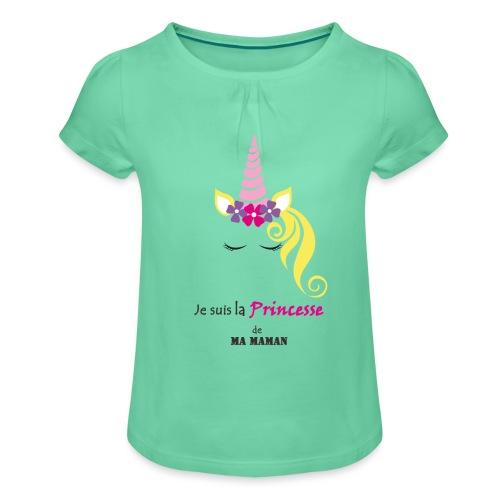 princesse de maman2 - T-shirt à fronces au col Fille