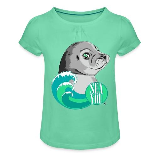 Sea You - Blue Waves - Mädchen-T-Shirt mit Raffungen