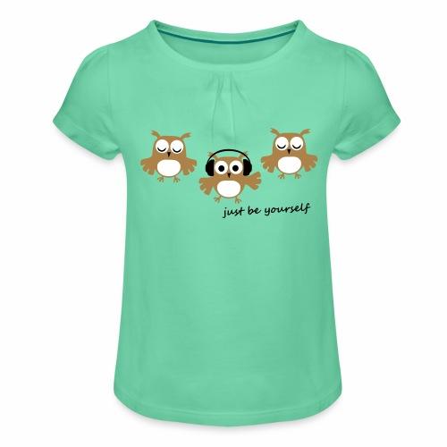 coole süße Eule tanzt Tanzen Kopfhörer Familie - Mädchen-T-Shirt mit Raffungen