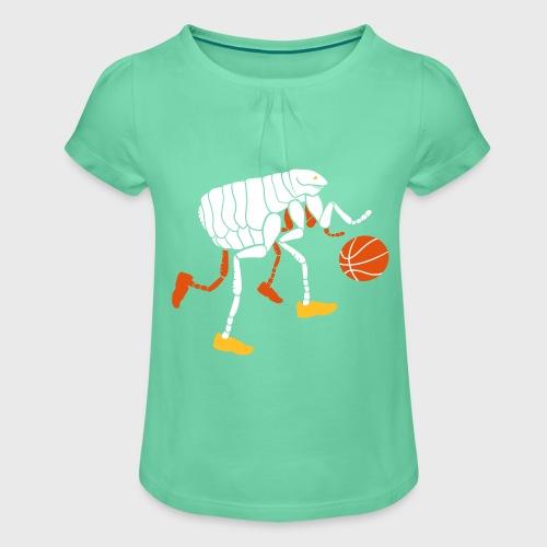 Puce qui joue au Basketball - T-shirt à fronces au col Fille