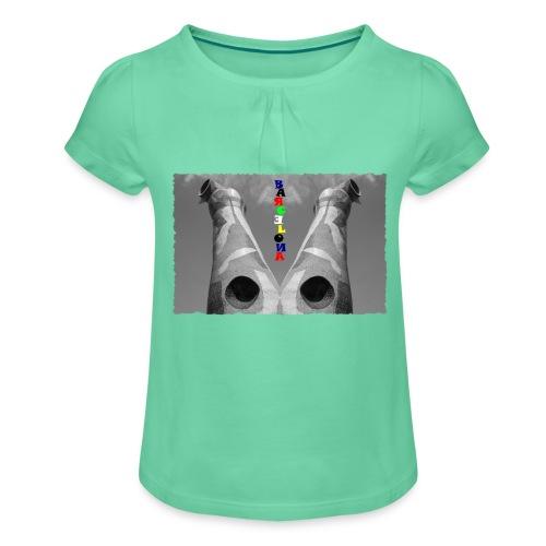 BARCELONA #1 - Mädchen-T-Shirt mit Raffungen