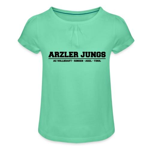 Arzler Jungs Schriftzug in Schwarz - Mädchen-T-Shirt mit Raffungen