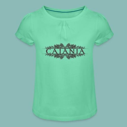 Caiania-logo harmaa - Tyttöjen t-paita, jossa rypytyksiä