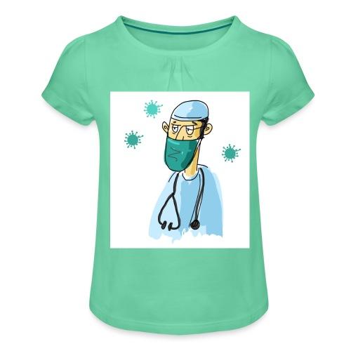 Cartoon Doktor Geschenkidee gezeichnet - Mädchen-T-Shirt mit Raffungen
