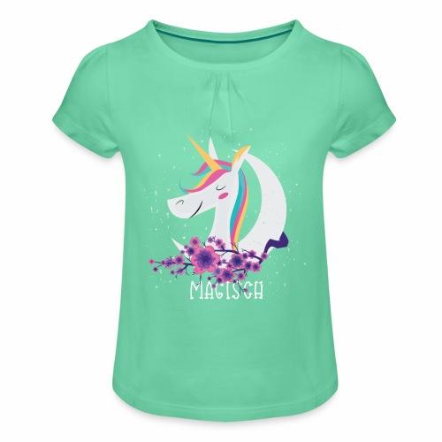 Magisches Einhorn - Mädchen-T-Shirt mit Raffungen