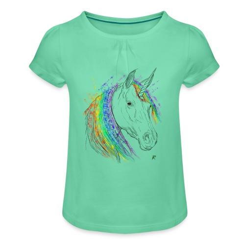 Unicorno - Maglietta da ragazza con arricciatura