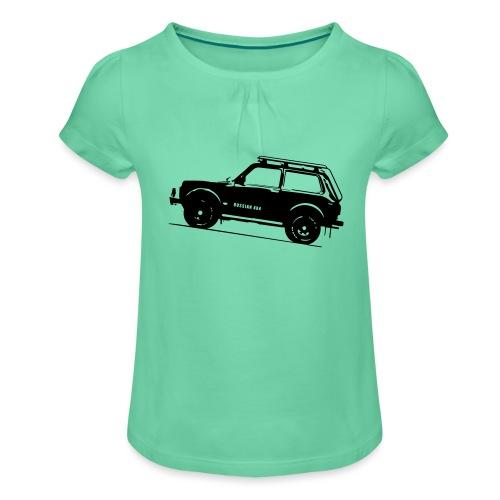 Lada Niva 2121 Russin 4x4 - Mädchen-T-Shirt mit Raffungen