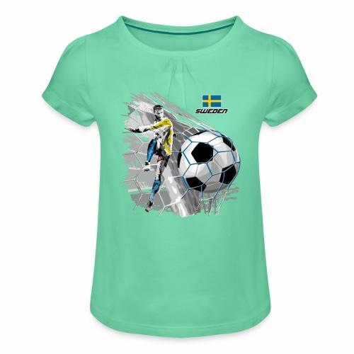 FP22F 16 SWEDEN FOOTBALL - Tyttöjen t-paita, jossa rypytyksiä
