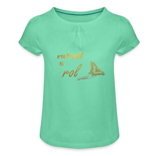 Stap uit je Rol Vlinder Goud - Meisjes-T-shirt met plooien