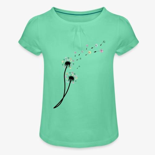 Pusteblume - Mädchen-T-Shirt mit Raffungen