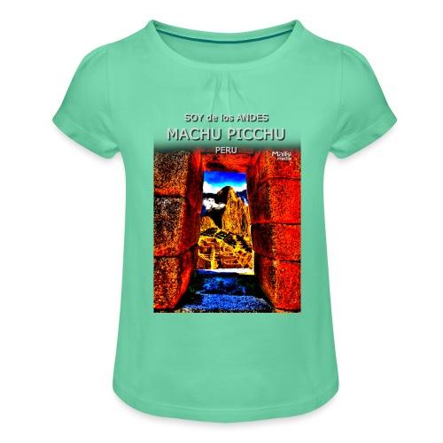 SOJA de los ANDES - Machu Picchu II - Mädchen-T-Shirt mit Raffungen